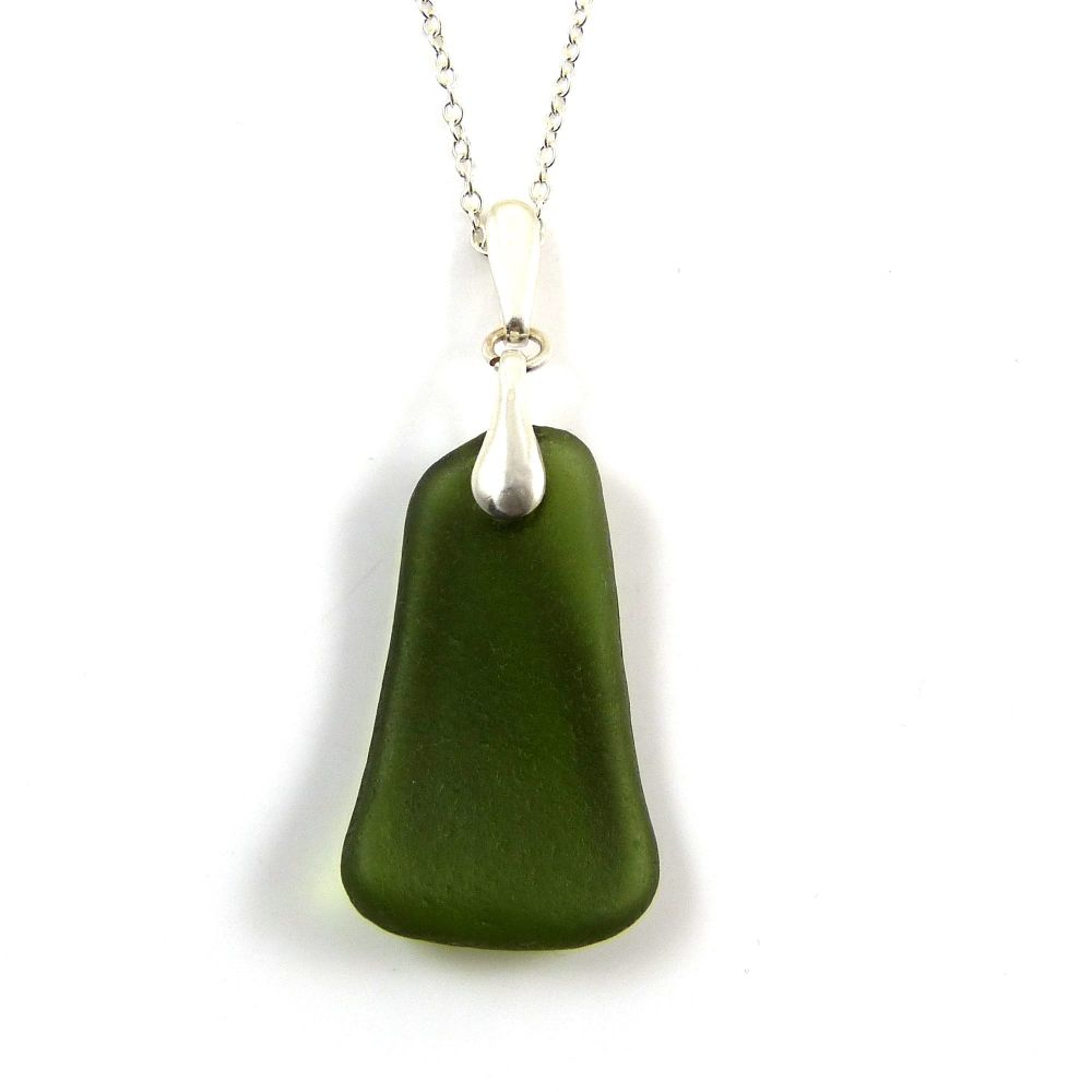 Forest Green Sea Glass Necklace MADELEINE