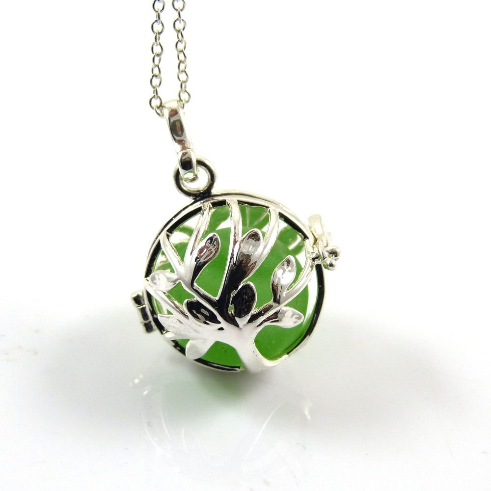 Spring Green Sea Glass Marble  Tree of Life Necklace