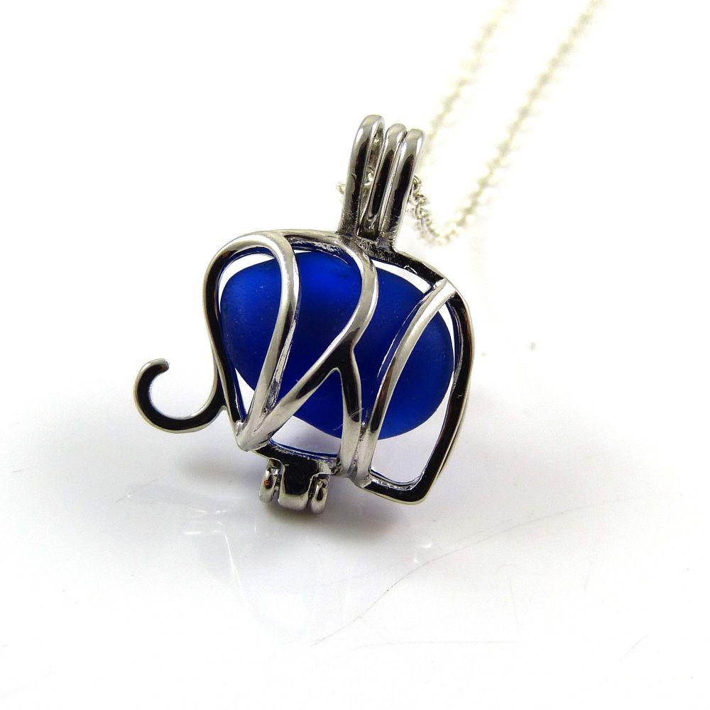Deep Cobalt Blue Sea Glass Elephant Locket Necklace L122