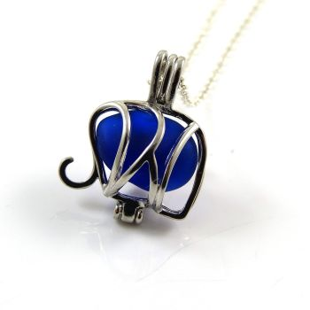 Deep Cobalt Blue Sea Glass Elephant Locket Necklace L122