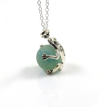 Frog with Aqua Blue Sea Glass Marble Locket  L113