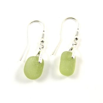 One of a Kind Sea Glass and Sterling Silver Earrings e136