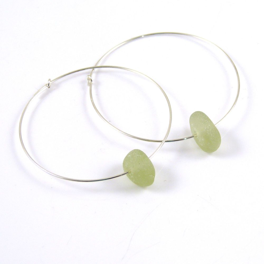 Pale Green Sea Glass Sterling Silver Earrings e137