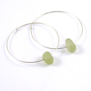 Pale Green Sea Glass Sterling Silver Earrings 40mm e137