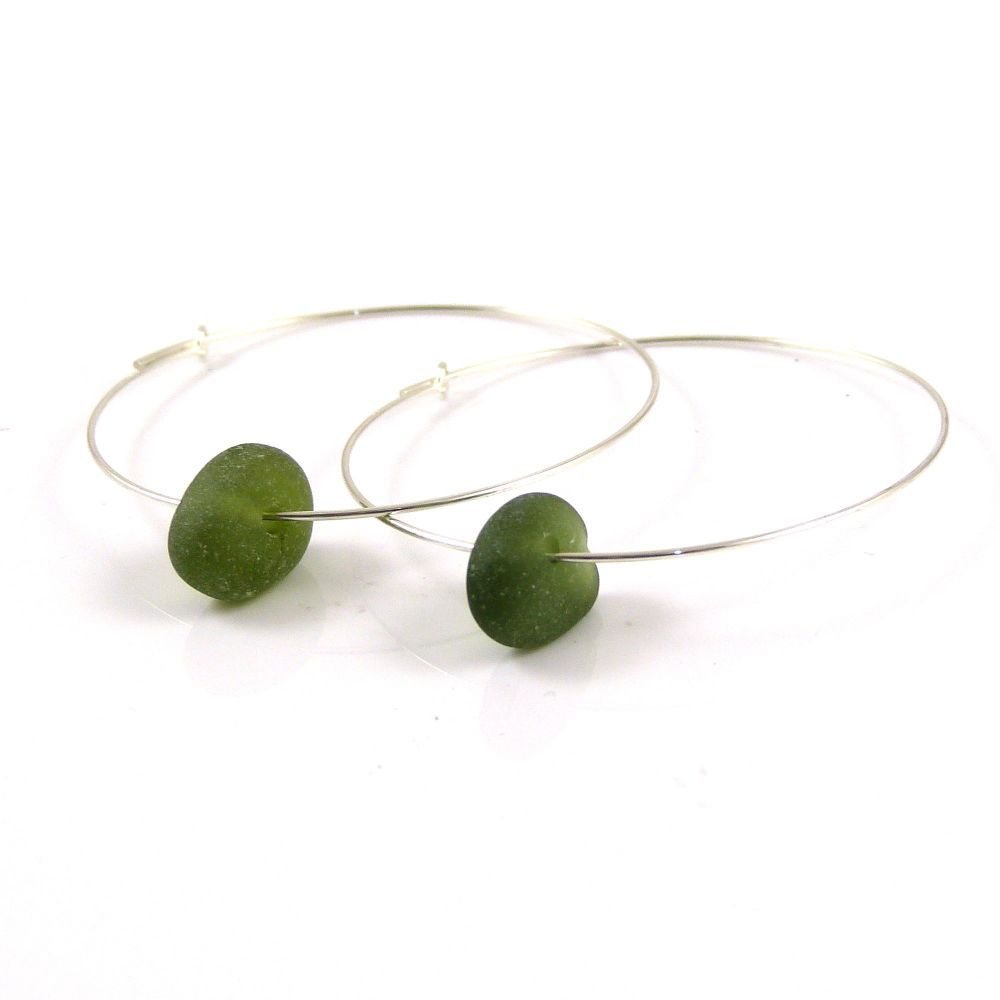 Dark Green Sea Glass Sterling Silver Earrings 40mm e138