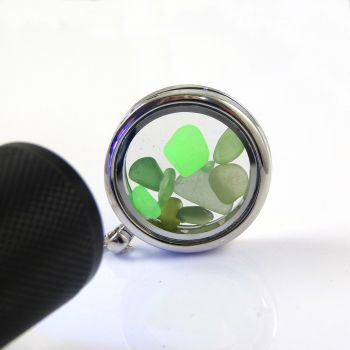 Memory Locket with Shades of Green Sea Glass  L124