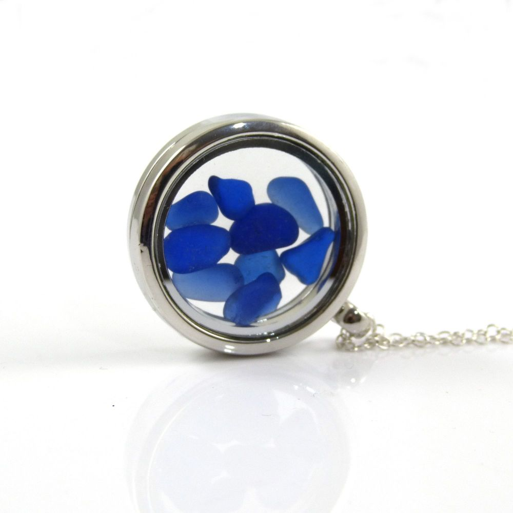 Memory Locket with Shades of Blue Sea Glass L123