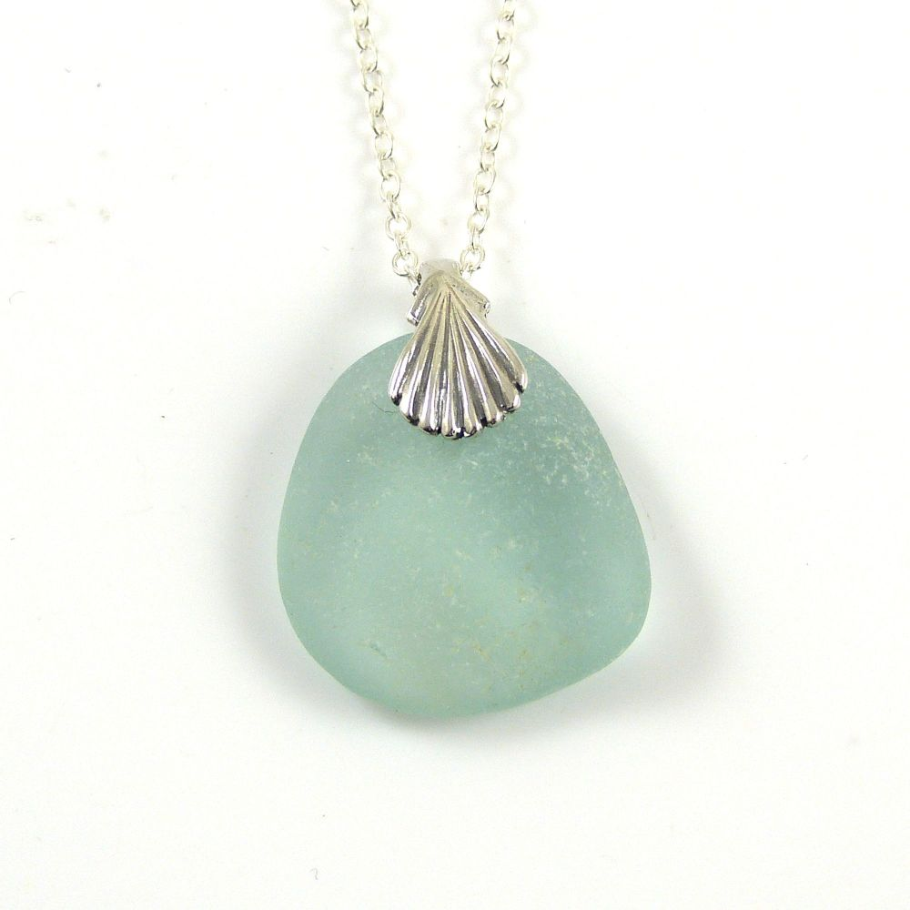 Aqua Sea Glass Necklace AMY