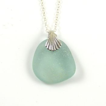 Aqua Sea Glass Necklace AMY