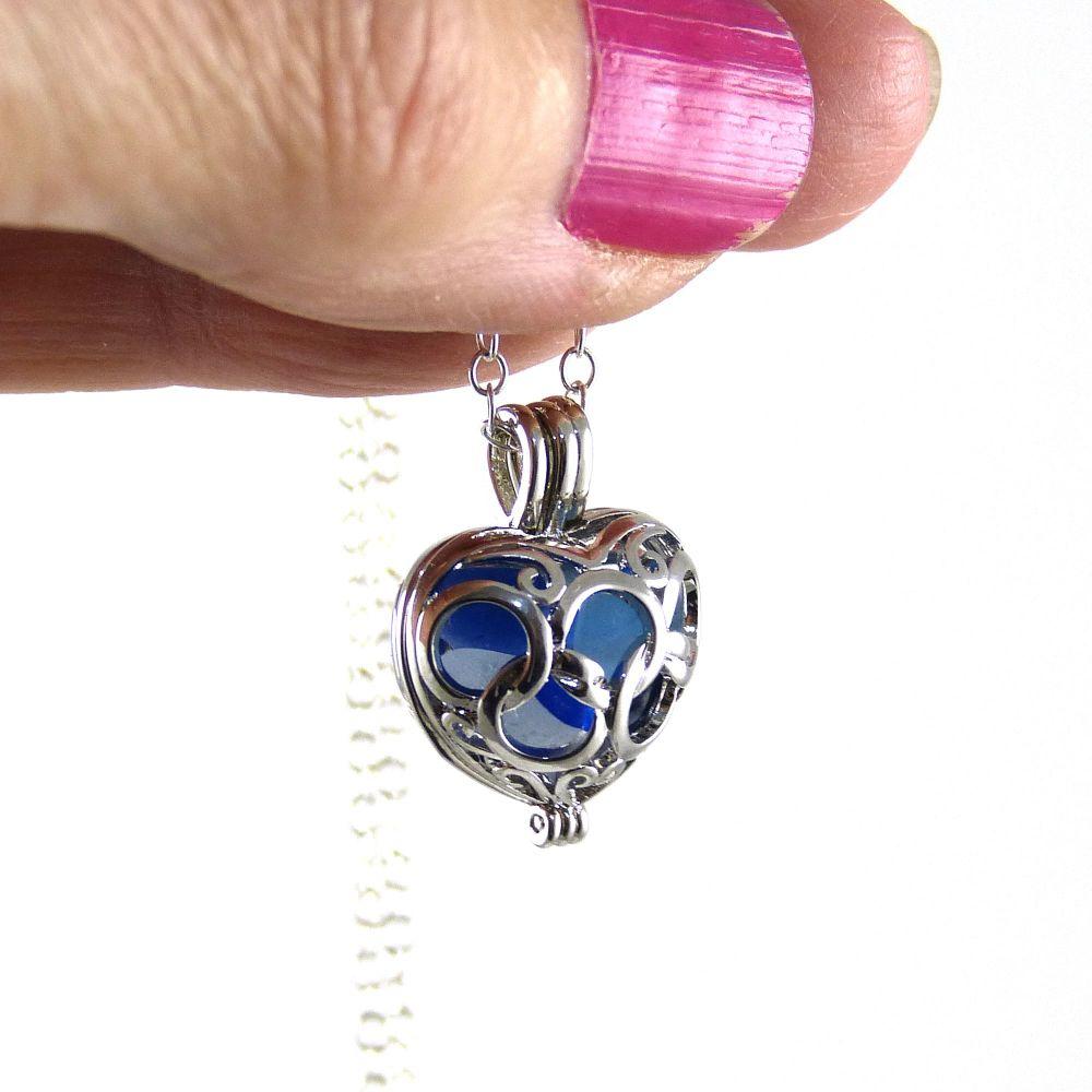 Cobalt Blue Sea Glass Heart Locket Necklace L125