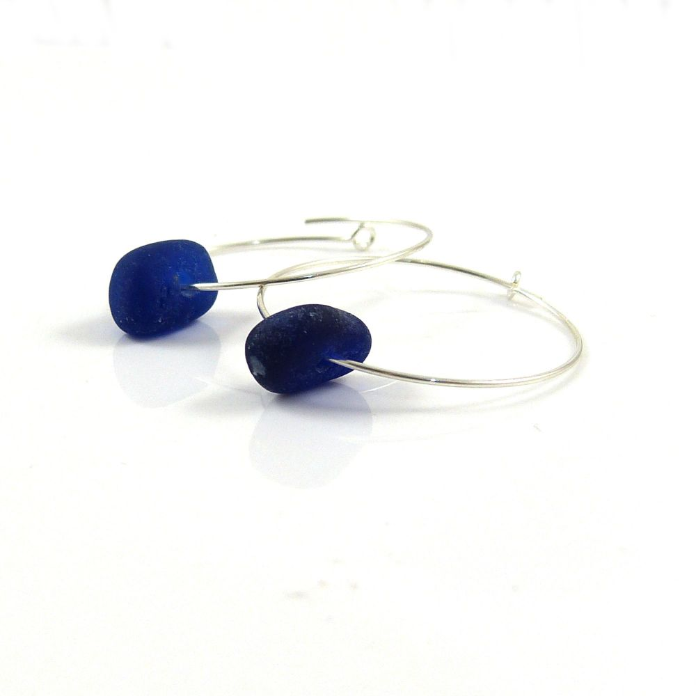 Cobalt Blue Sea Glass Sterling Silver Hoop Earrings e147