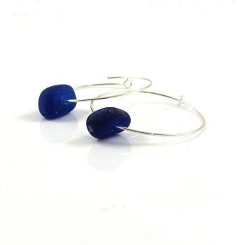 Cobalt Blue Sea Glass Sterling Silver Hoop Earrings e147