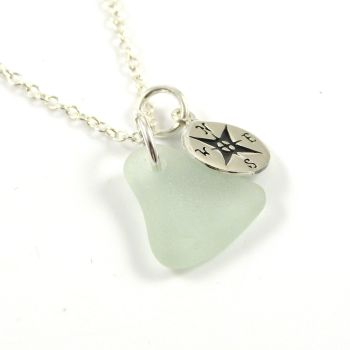 Seafoam Sea Glass and Sterling Silver Compass Charm Necklace