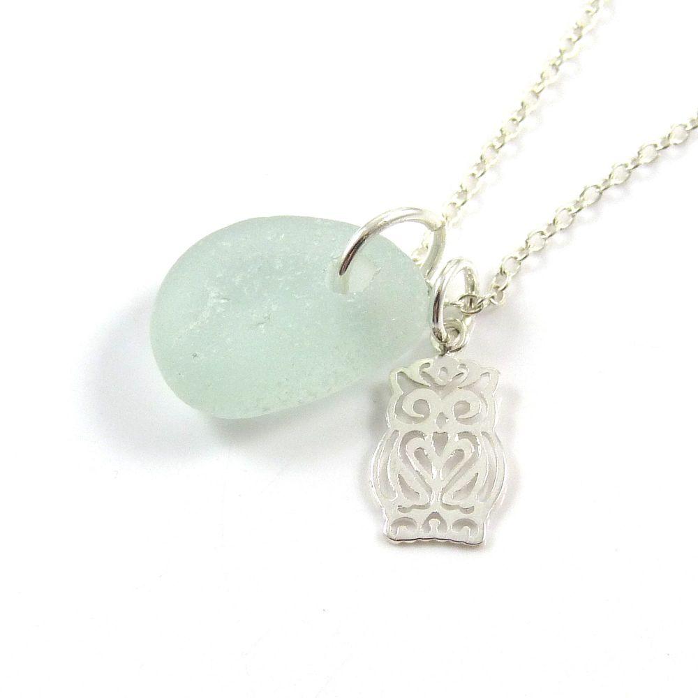 Seafoam Blue Sea Glass Sterling Silver Owl Necklace