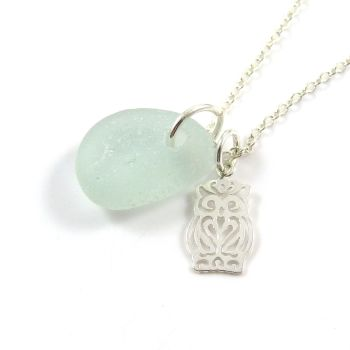 Seafoam Blue Sea Glass Sterling Silver Owl Necklace