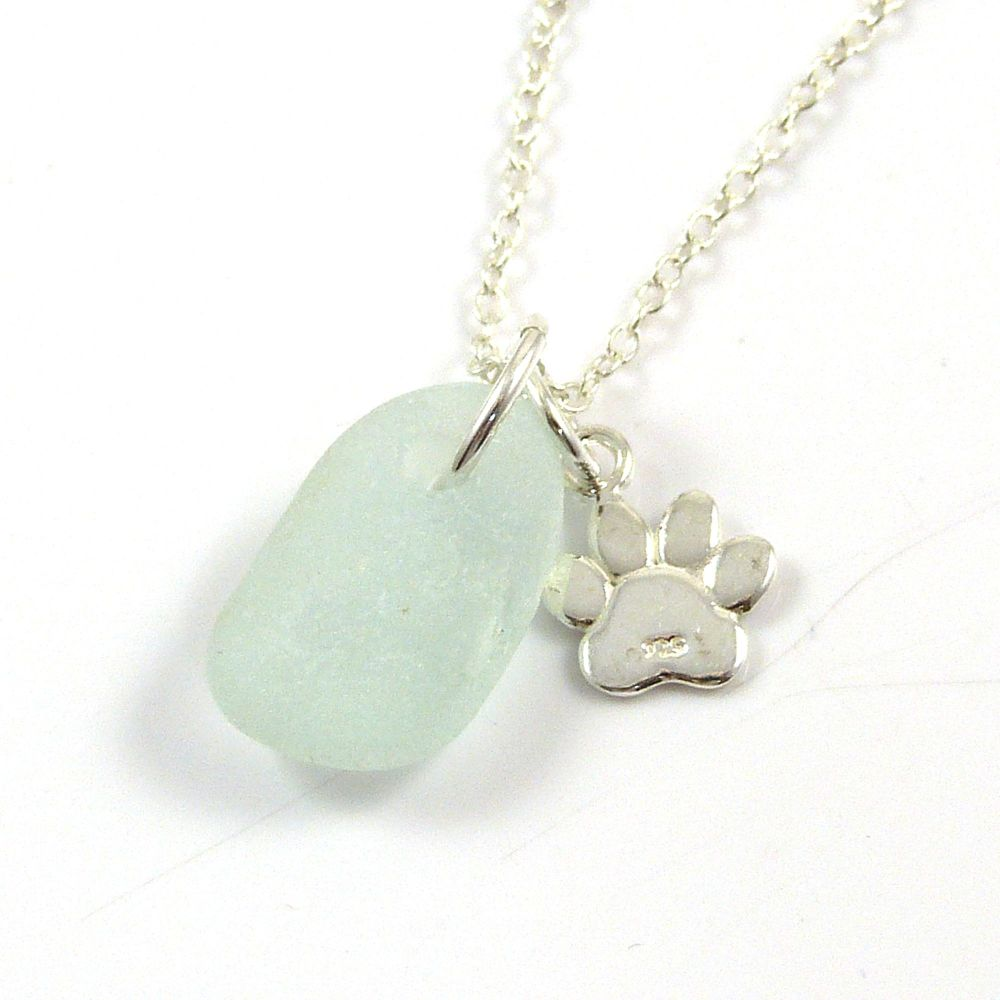 Seafoam Sea Glass and Sterling Silver Paw Charm Necklace