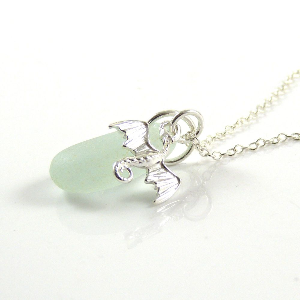 Seafoam Blue Sea Glass and Sterling Silver Dragon Necklace