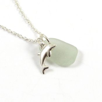 Seamist Sea Glass and Sterling Silver Dolphin Charm Necklace