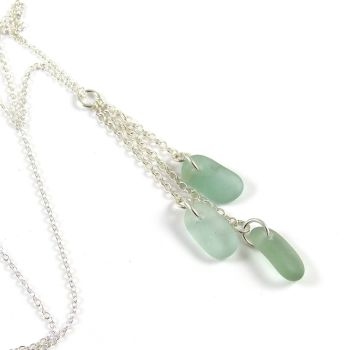 Shades of Deep Seafoam Sea Glass and Sterling Silver Cluster Necklace