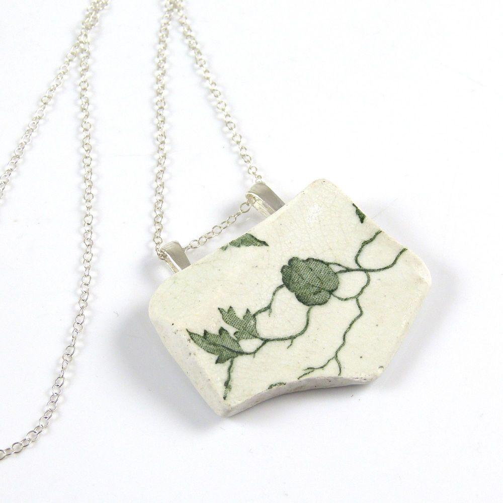 Green and White English Beach Pottery Pendant Necklace ATHENA