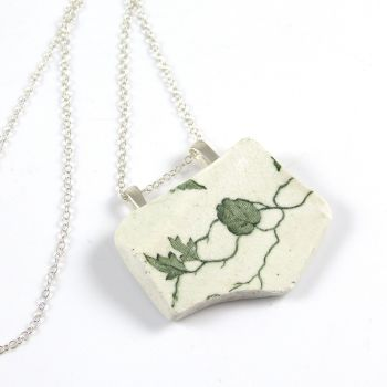 Green and White English Beach Pottery Pendant Necklace ATHENA