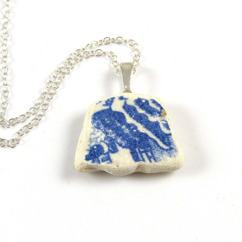 Blue and White English Beach Pottery Pendant Necklace ELLA