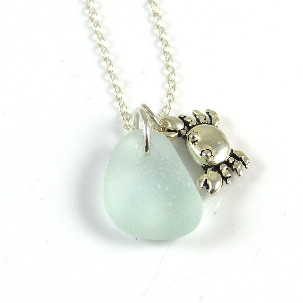 Seafoam  Sea Glass and Sterling Silver Crab Charm Necklace