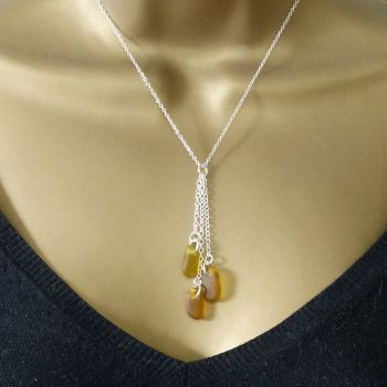 Shades of Amber Sea Glass and Sterling Silver Cluster Necklace ELLIE
