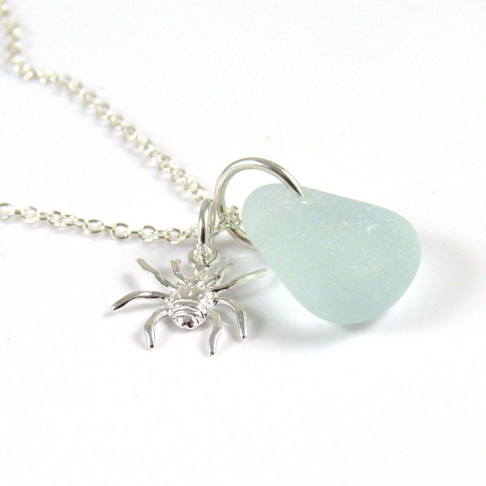 Seafoam Blue Sea Glass Sterling Silver Spider Necklace