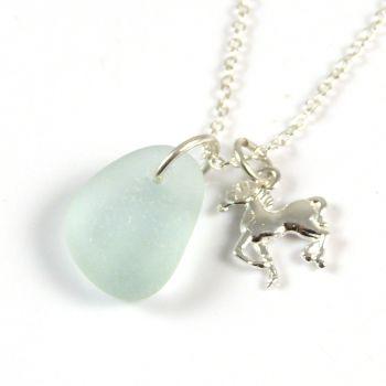 Seafoam Blue Sea Glass Sterling Silver Horse Necklace