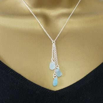Shades of Pale Blue Sea Glass and Sterling Silver Cluster Necklace HARMONY