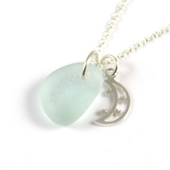 Seafoam Blue Sea Glass Sterling Silver Moon and Stars Necklace