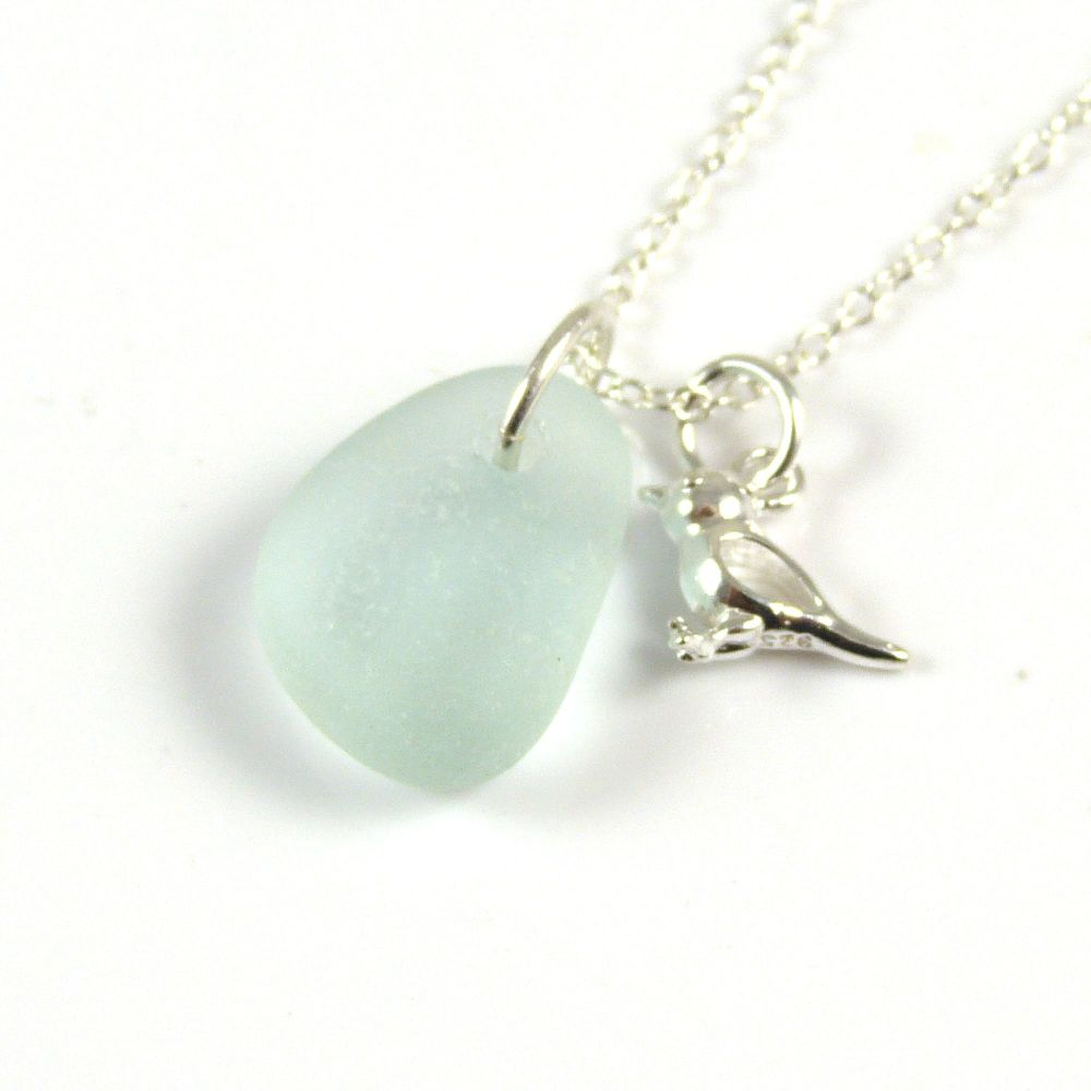 Seafoam Blue Sea Glass and Sterling Silver Bird Charm Necklace
