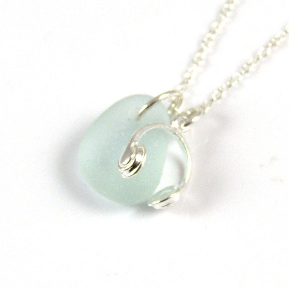 Seafoam Blue Sea Glass Sterling Silver Headphones Necklace