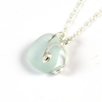 Seafoam Blue Sea Glass Sterling Silver Headphones Necklace