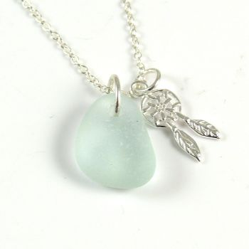 Seafoam  Sea Glass and Sterling Silver Dreamcatcher Charm Necklace