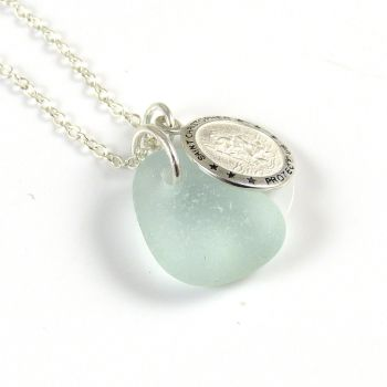 Seafoam Blue Sea Glass Sterling Silver St. Christopher Necklace