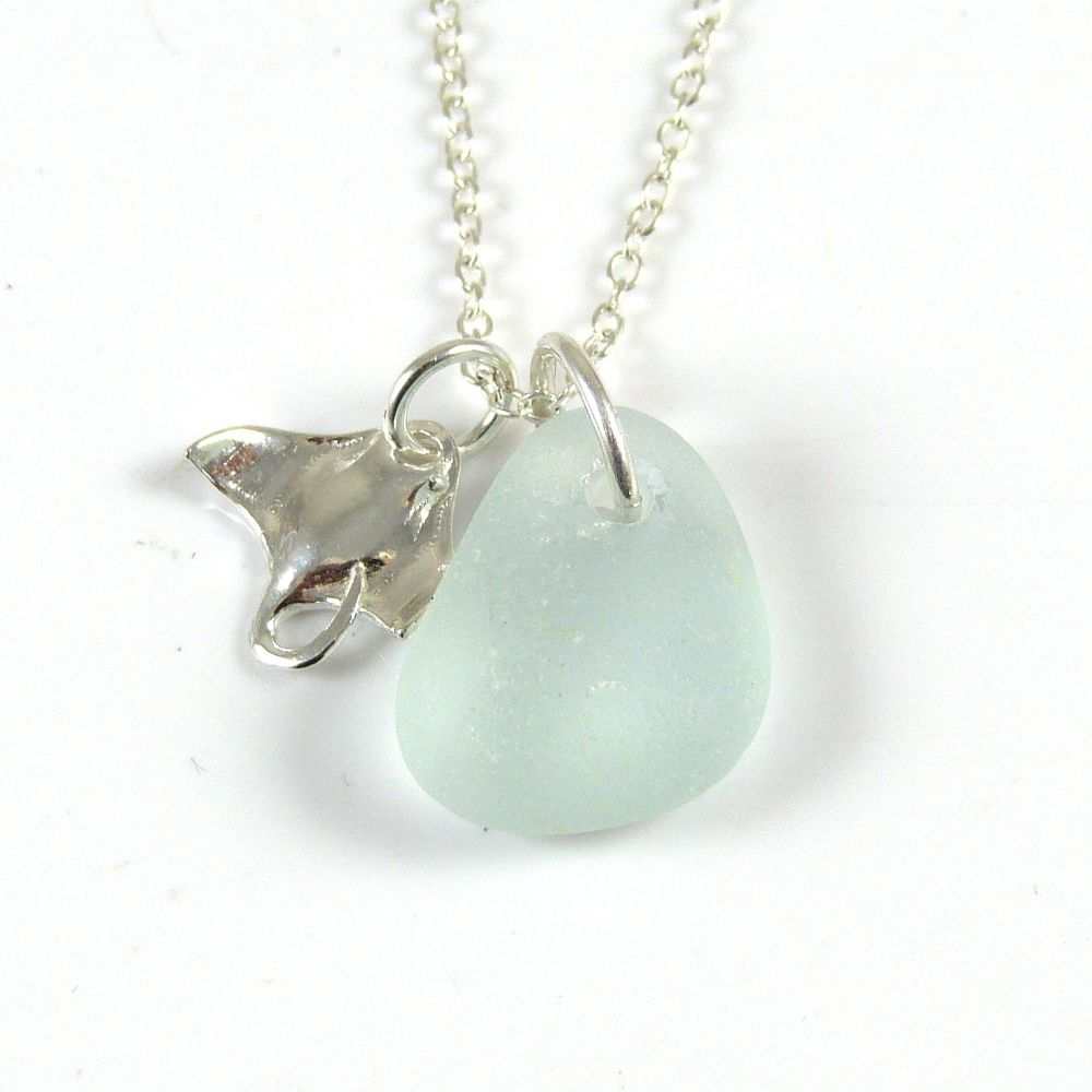 Seafoam  Sea Glass and Sterling Silver Manta Ray Charm Necklace