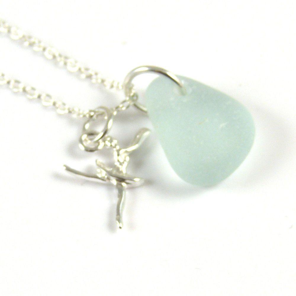 Seafoam Blue Sea Glass Sterling Silver Ballerina Necklace