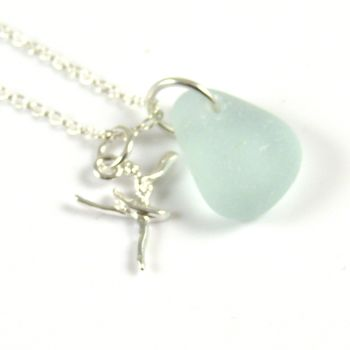 Seafoam Blue Sea Glass Sterling Silver Ballerina Necklace