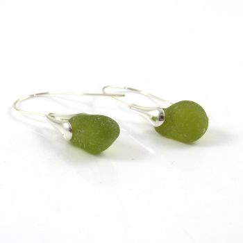 Olive Green Sea Glass and Sterling Silver Earrings e139