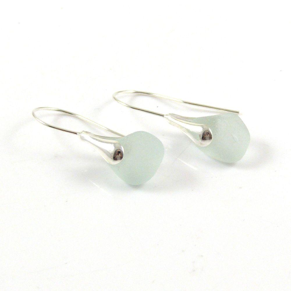 Seaspray Sea Glass Sterling Silver Earrings e142