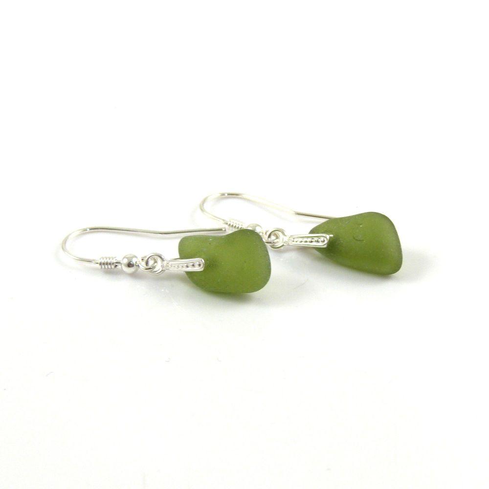 Olive Green Sea Glass Drop Earrings e141