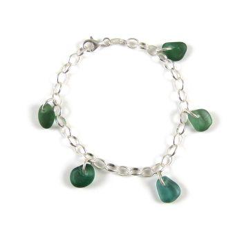 Teal Green Sea Glass Bracelet