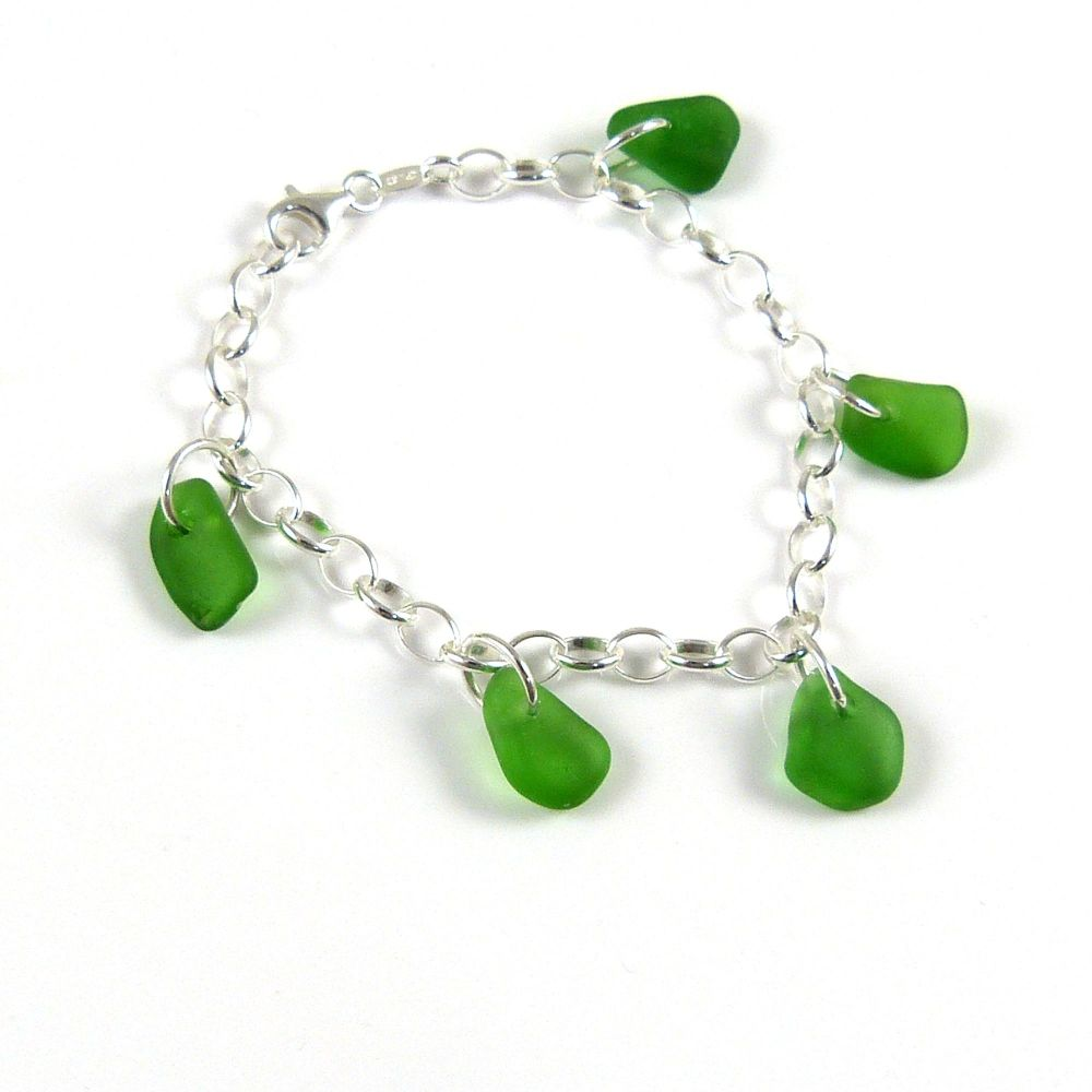 Emerald Green Sea Glass Bracelet
