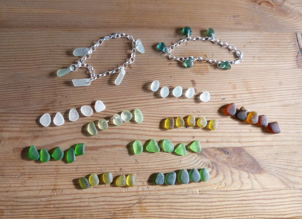 making sea glass bracelets