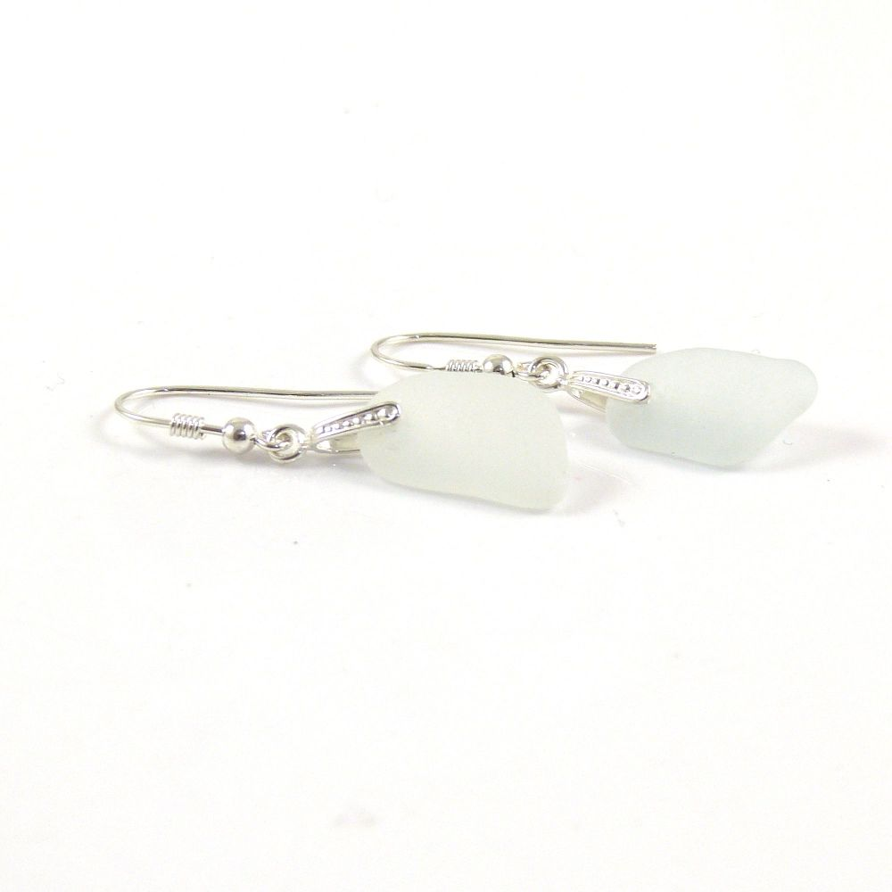 Seamist Sea Glass Sterling Silver Earrings e140