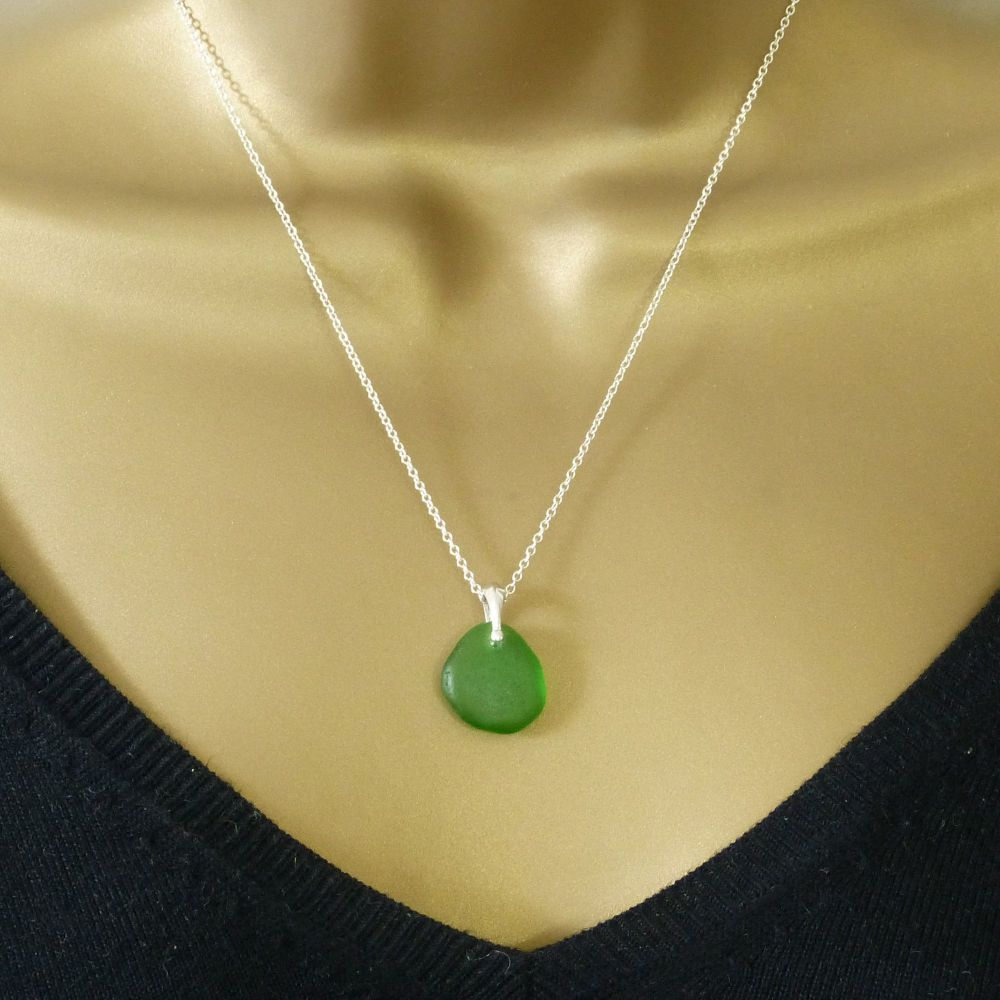Emerald Green Sea Glass Necklace ARLETTE