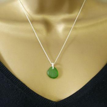 Emerald Green Sea Glass Necklace ARLETTE
