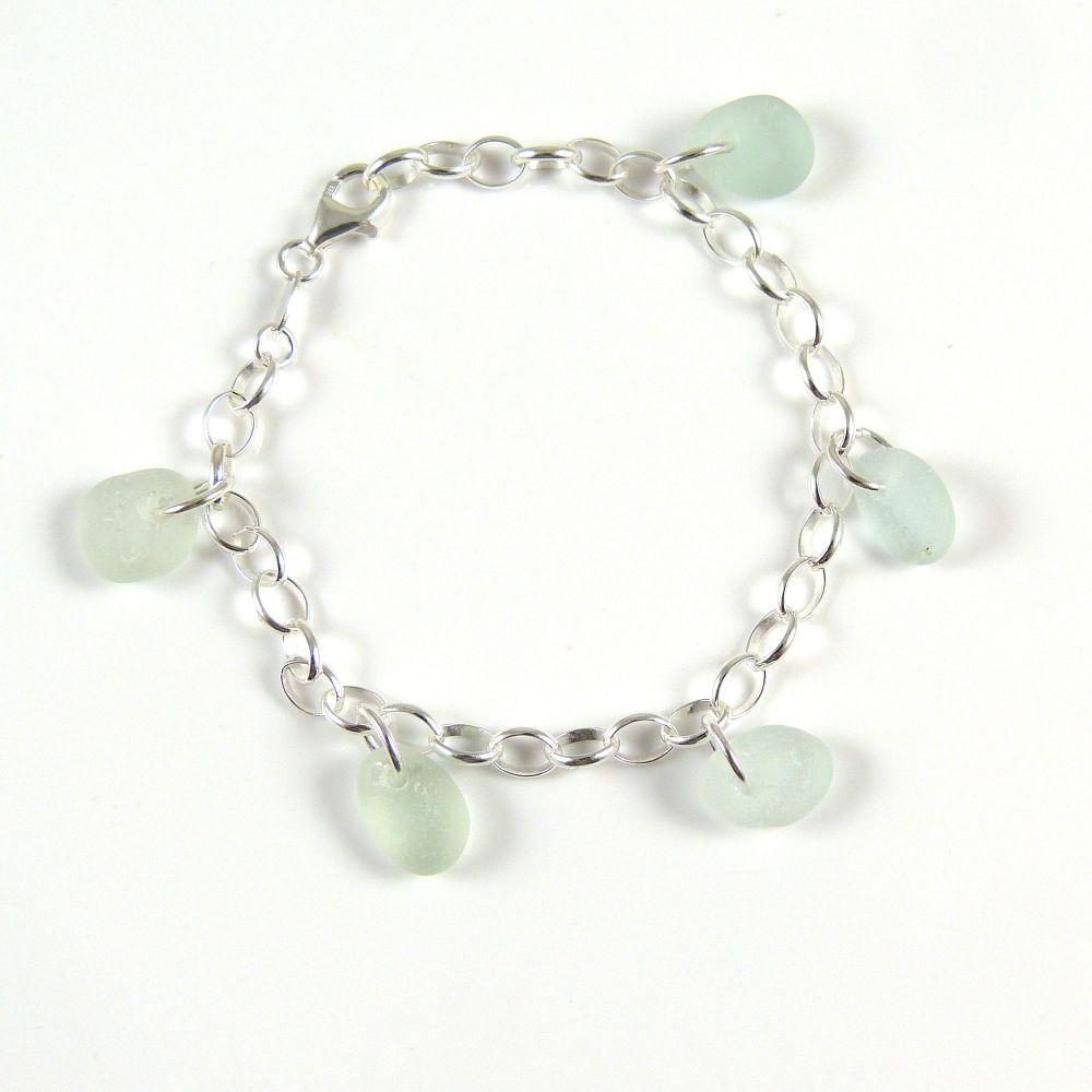 Shades of Pale Blue Sea Glass Bracelet